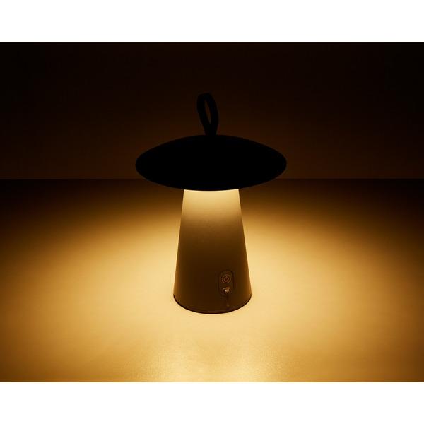 HEITRONIC 2-W-Akku-LED-Tischleuchte Mushroom, anthrazit, IP54, bis 80 h Leuchtdauer
