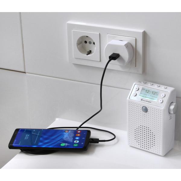 Soundmaster Aufputz-Steckdosenradio DAB60WE, DAB+/UKW, Bluetooth, Akku, IPX4