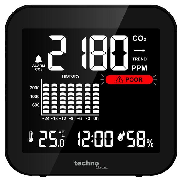 technoline CO2-Messgerät / CO2-Anzeige WL1025, Kohlendioxid, Ampel-Anzeige, Akku