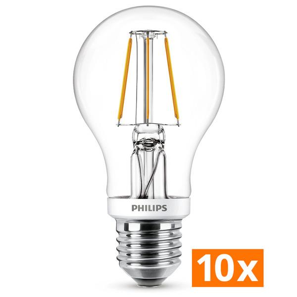 Philips 10er-Spar-Set 7,5-W-LED-Lampe Classic LEDbulb, E27, 806 lm, dimmbar, warmweiß