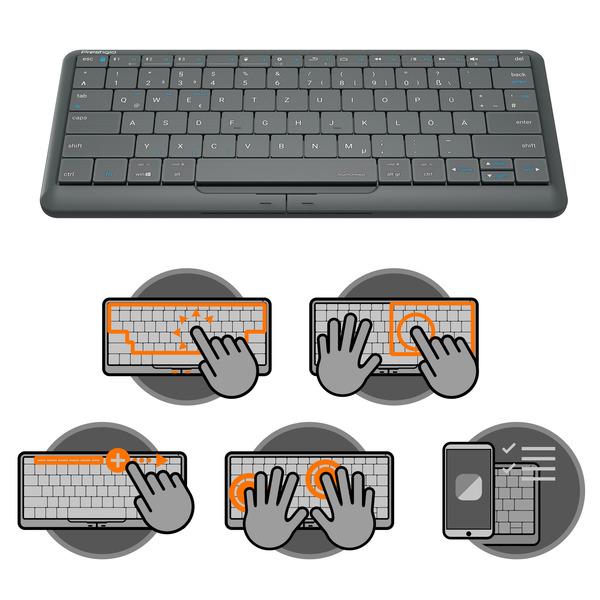 Prestigio 4-in-1-Tastatur Click&Touch 2, mit Touchpad-Tastensteuerung, grau