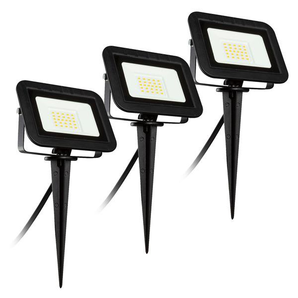 HEITRONIC 3er-Spar-Set 20-W-LED-Erdspießstrahler YORK, 3-m-Leitung mit Stecker, IP44, schwarz