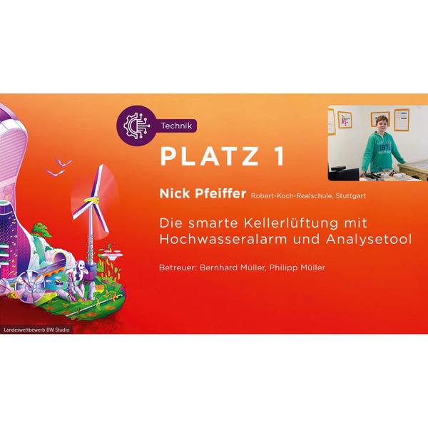 """Sieger im Landeswettbewerb - Platz 1 für Nick Pfeiffer bei """"Jugend forscht"""""""