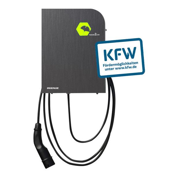 Renz Wallbox POWER2CAR STEEL, 3,7 - 11 kW, 5-m-Kabel, förderfähig