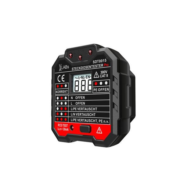 VA-LABs Steckdosentester SDT0015 mit RCD-Prüfung und LCD