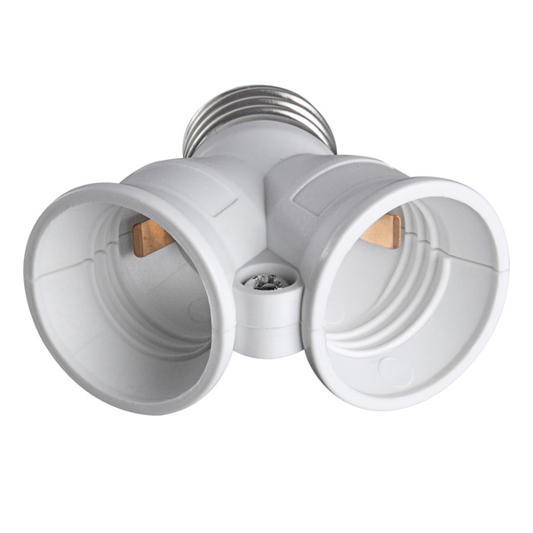 HEITRONIC Lampensockeladapter Kunststoff DUO, 1x E27 auf 2x E27
