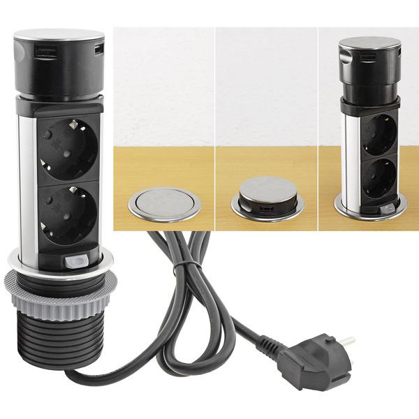 ChiliTec Tisch-Einbausteckdose zweifach + 2x USB-A, versenkbar, Edelstahl